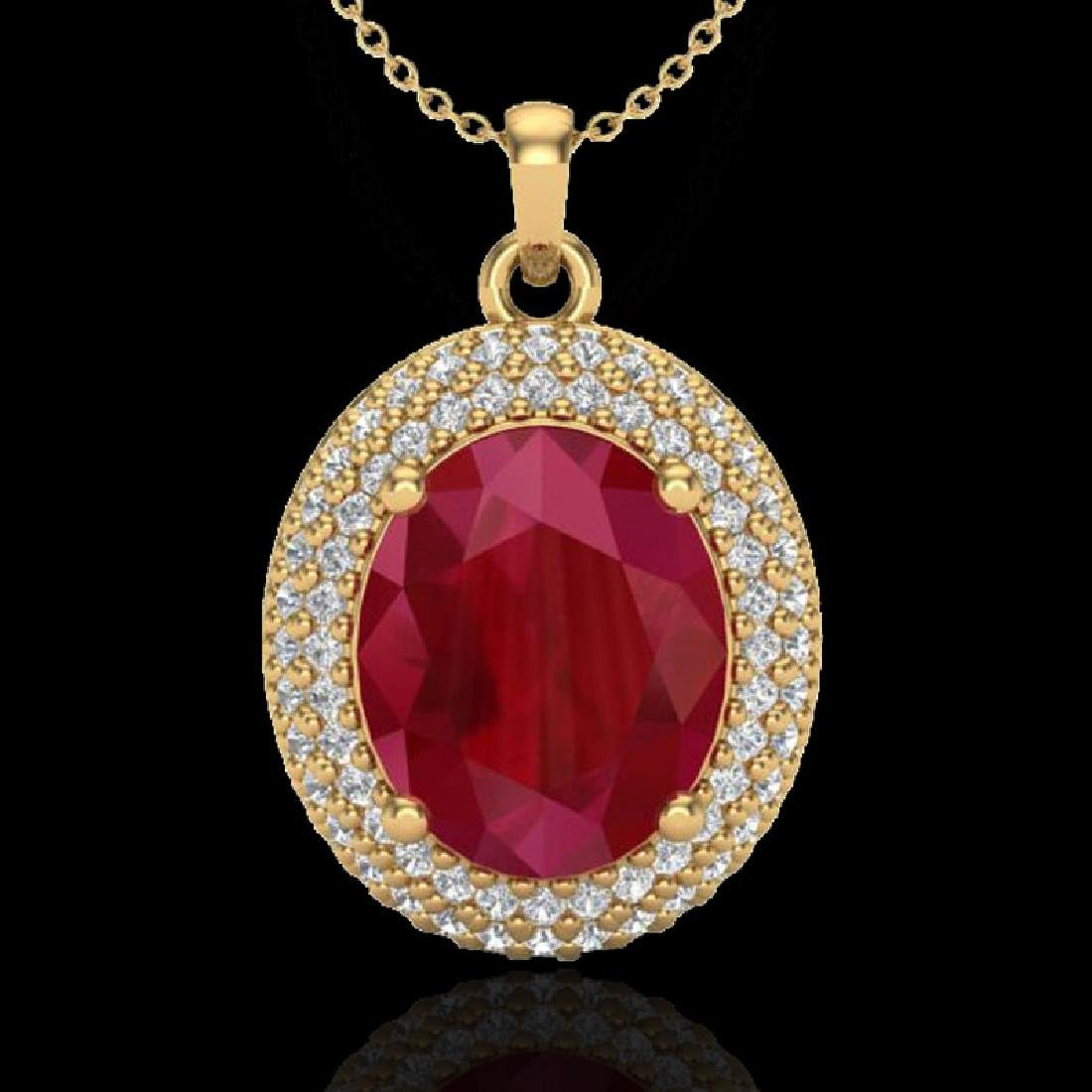 4.50 CTW Ruby & Micro Pave VS/SI Diamond Necklace 18K