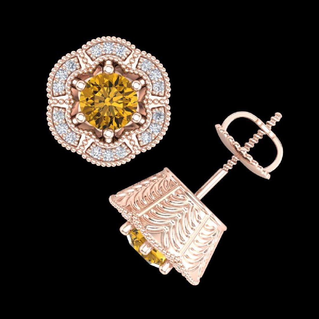 1.51 CTW Intense Fancy Yellow Diamond Art Deco Stud - 3