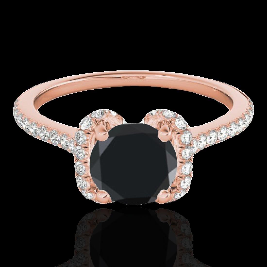 1.33 CTW Certified VS Black Diamond Solitaire Halo Ring