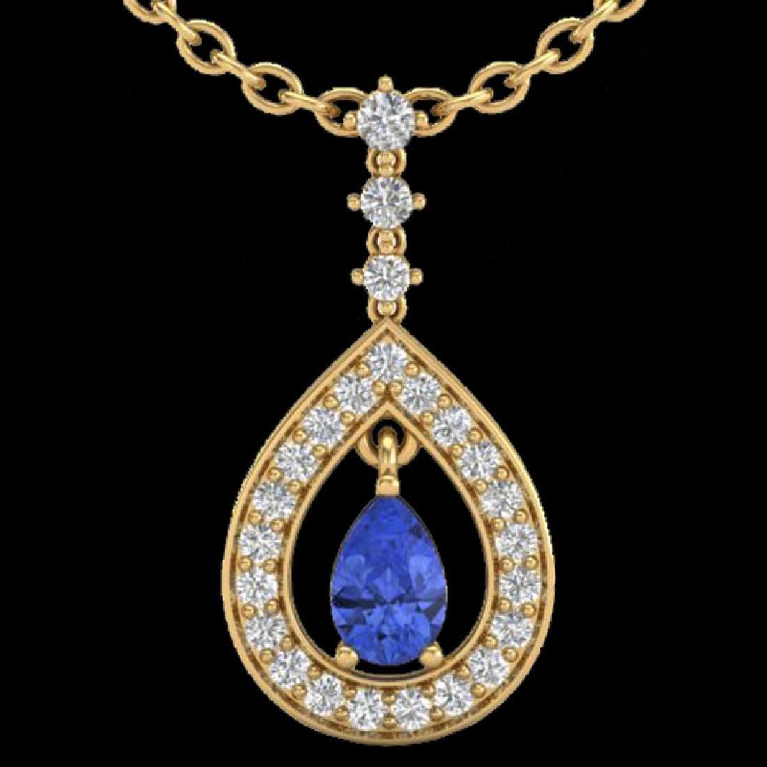 1.15 CTW Tanzanite & Micro Pave VS/SI Diamond Necklace - 2
