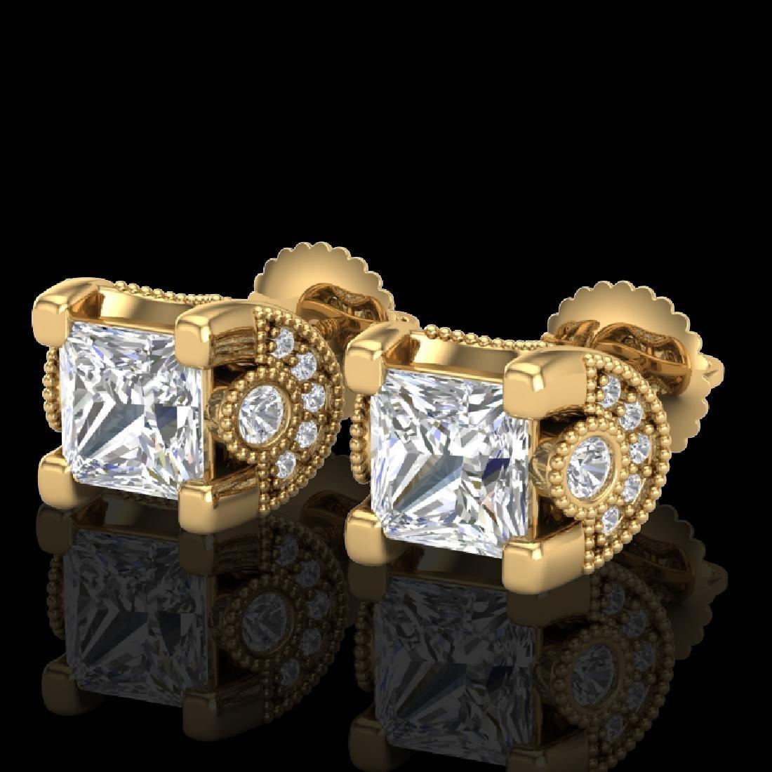 2.5 CTW Princess VS/SI Diamond Art Deco Stud Earrings