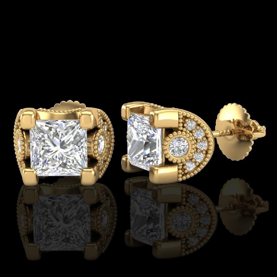 2.5 CTW Princess VS/SI Diamond Art Deco Stud Earrings - 2