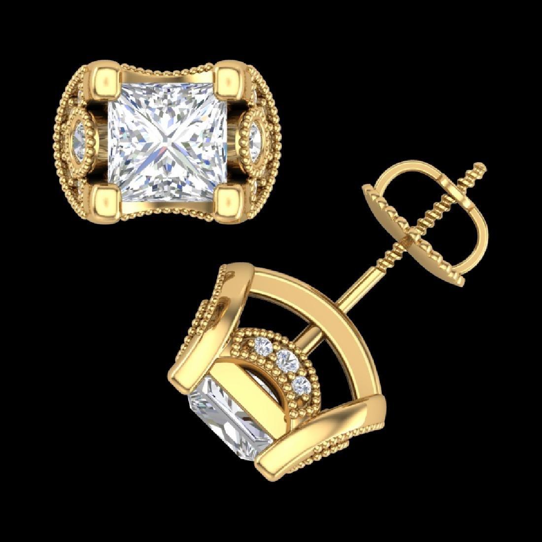 2.5 CTW Princess VS/SI Diamond Art Deco Stud Earrings - 3