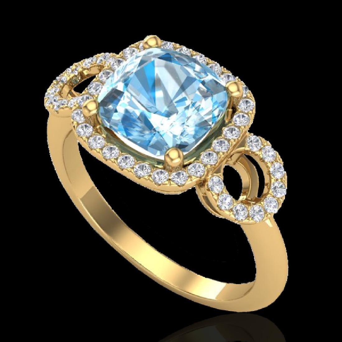 3.75 CTW Topaz & Micro VS/SI Diamond Ring 18K Yellow - 2