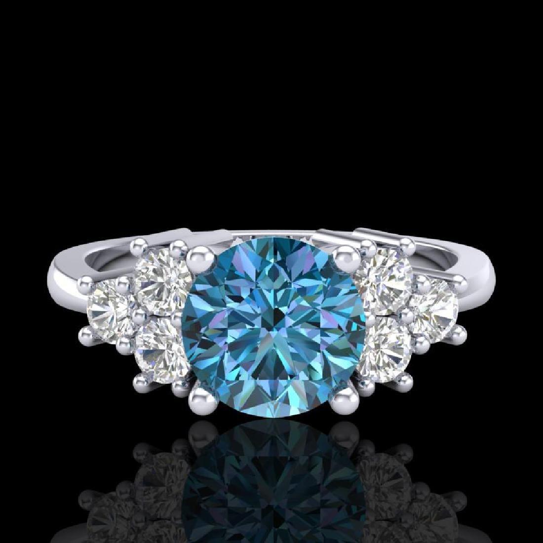 1.5 CTW Intense Blue Diamond Solitaire Engagement - 2