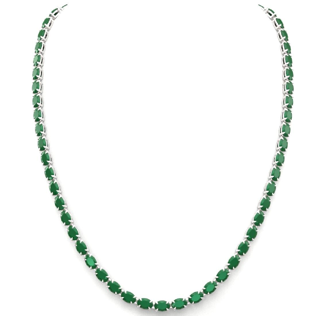 40 CTW Emerald Eternity Tennis Necklace 14K White Gold - 2