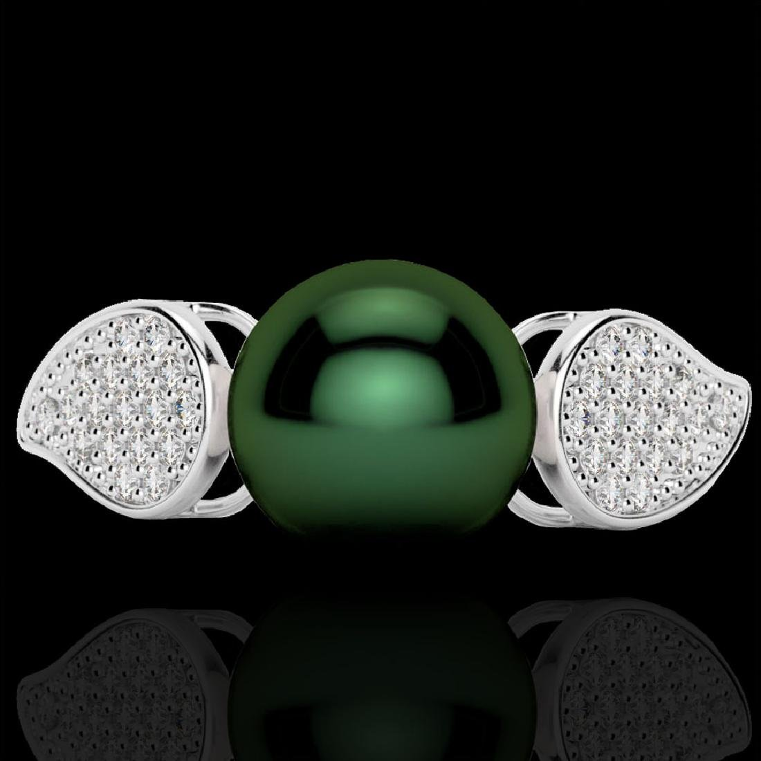 0.27 CTW Micro Pave VS/SI Diamond & Peacock Pearl Ring