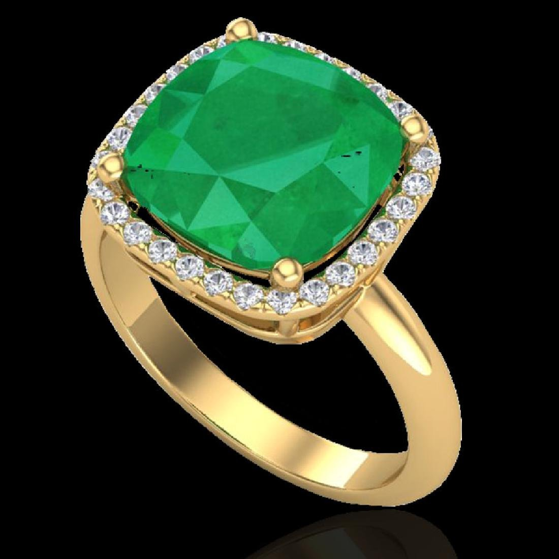 6 CTW Emerald And Micro Pave Halo VS/SI Diamond Ring - 2