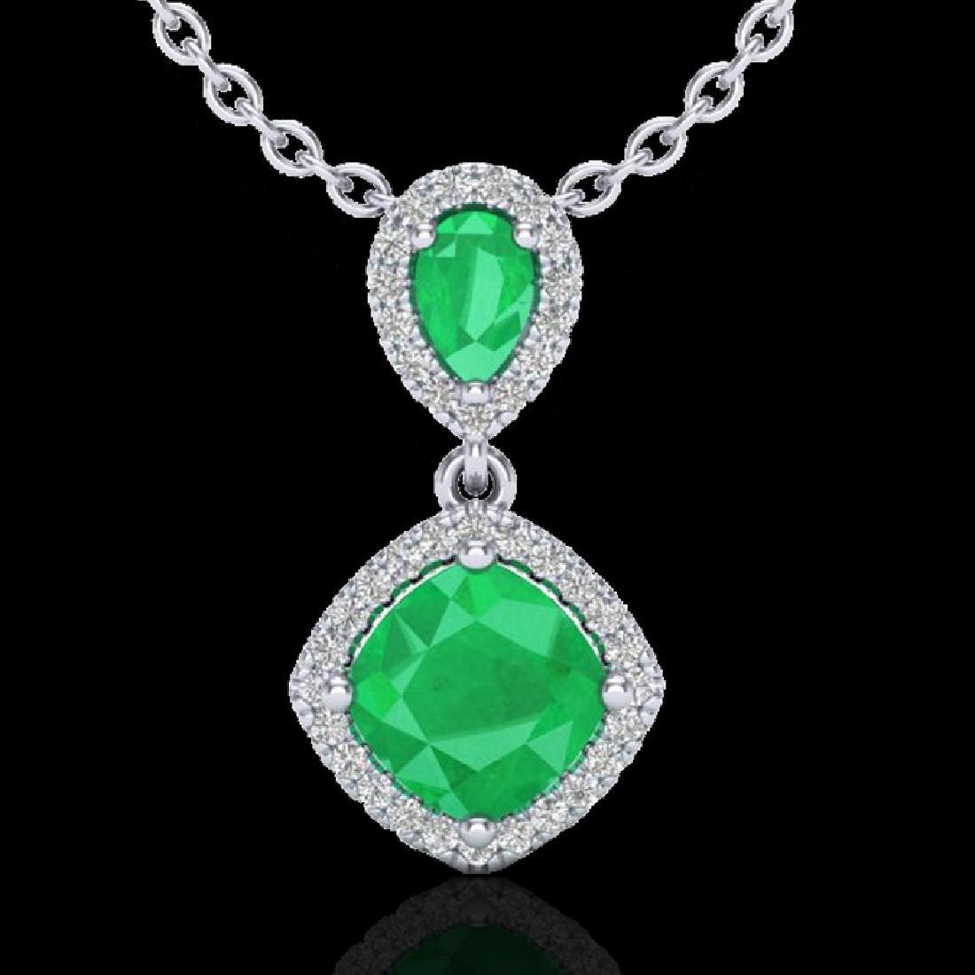 3.50 CTW Emerald & Micro VS/SI Diamond Necklace