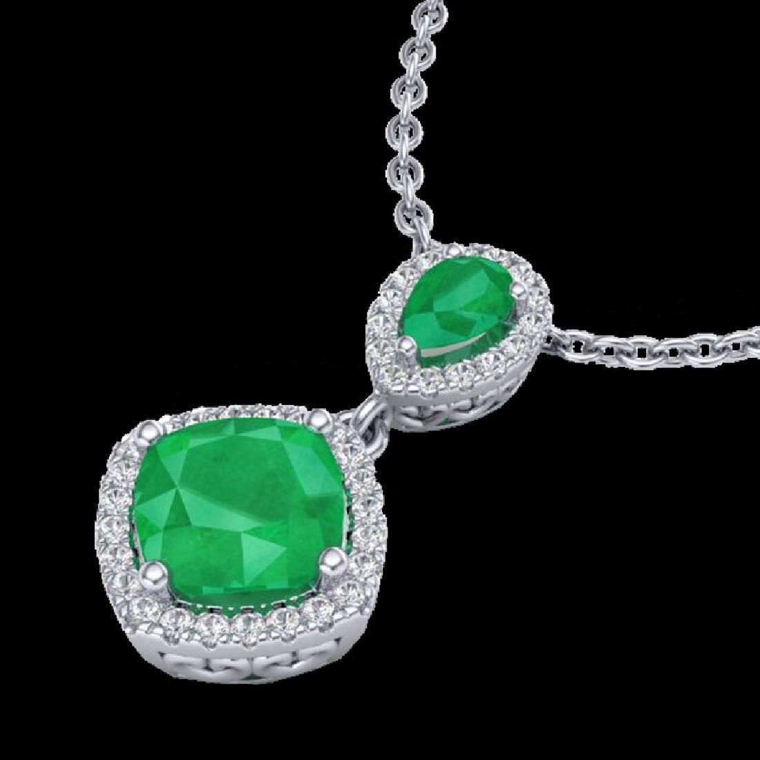 3.50 CTW Emerald & Micro VS/SI Diamond Necklace - 2