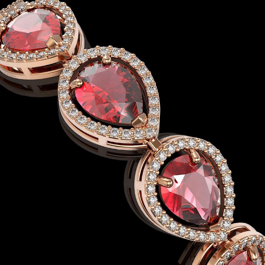 19.7 CTW Tourmaline & Diamond Halo Bracelet 10K Rose - 3