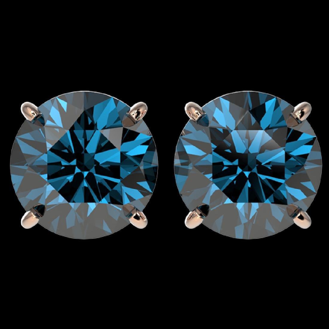 4 CTW Certified Intense Blue SI Diamond Solitaire Stud