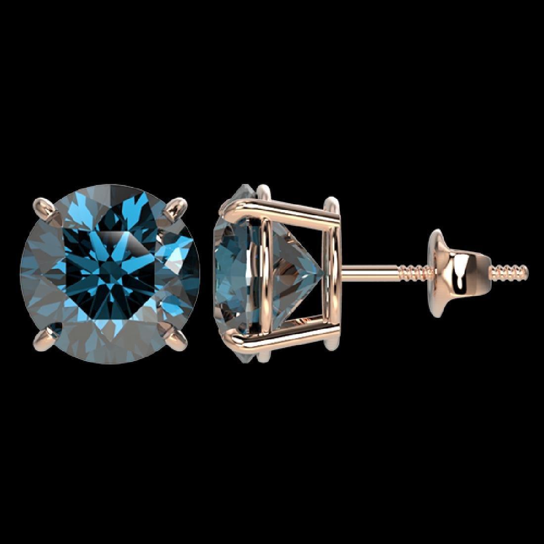 4 CTW Certified Intense Blue SI Diamond Solitaire Stud - 2