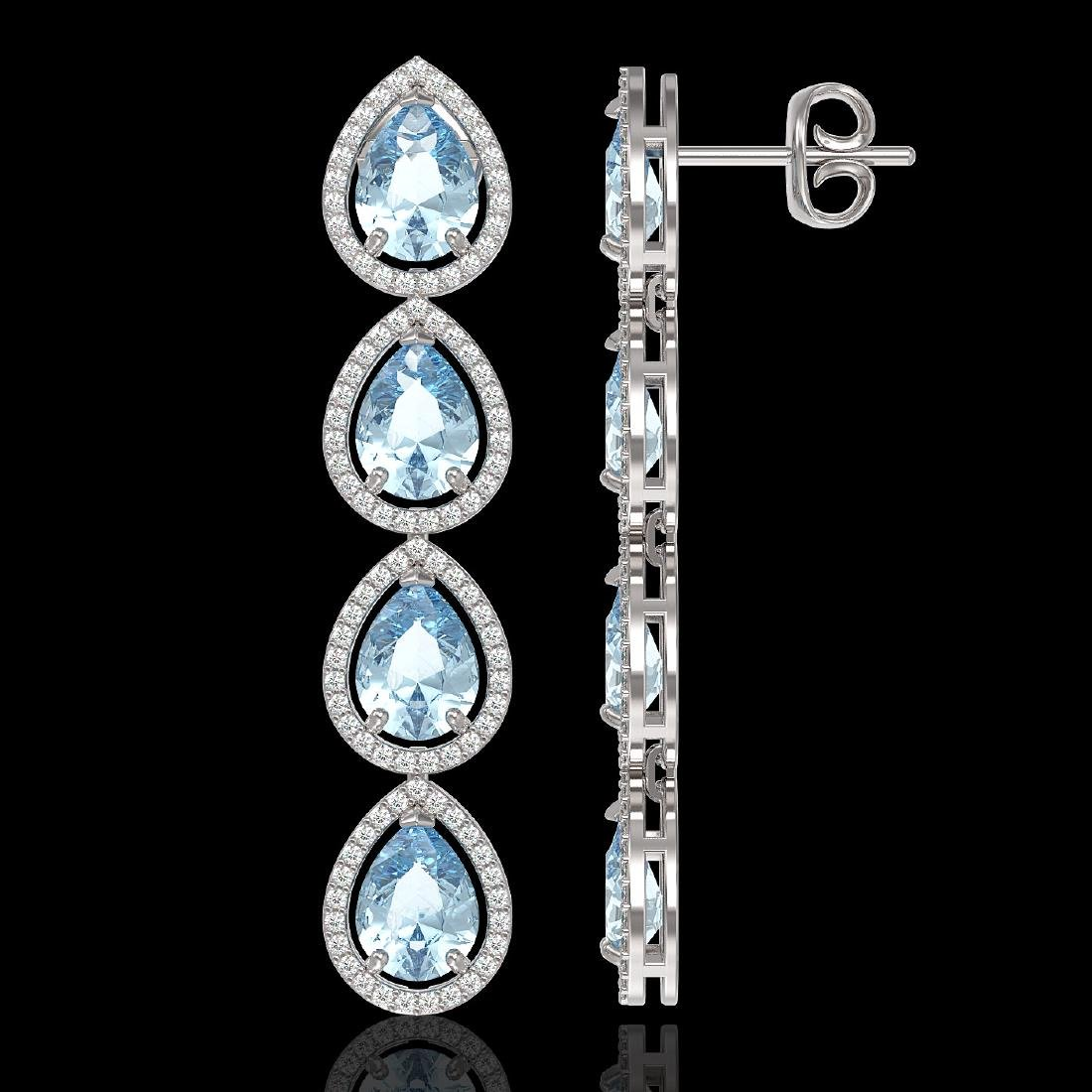 10.4 CTW Sky Topaz & Diamond Halo Earrings 10K White - 2