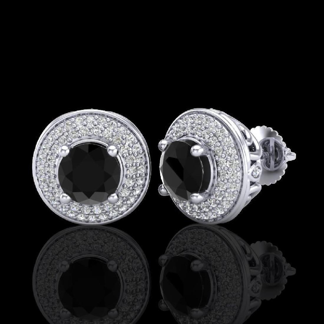 2.35 CTW Fancy Black Diamond Solitaire Art Deco Stud - 2