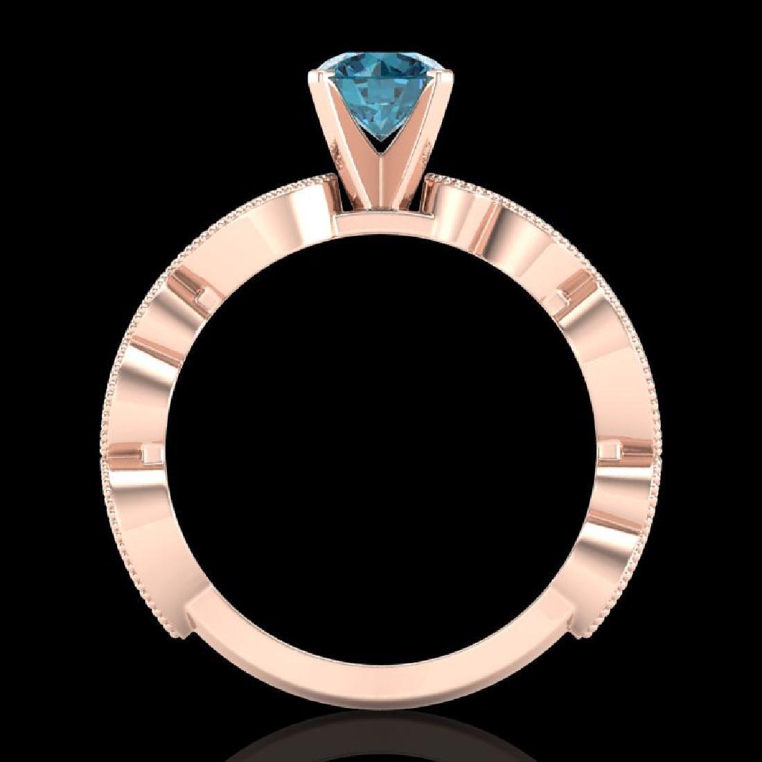 1.01 CTW Fancy Intense Blue Diamond Solitaire Art Deco - 3