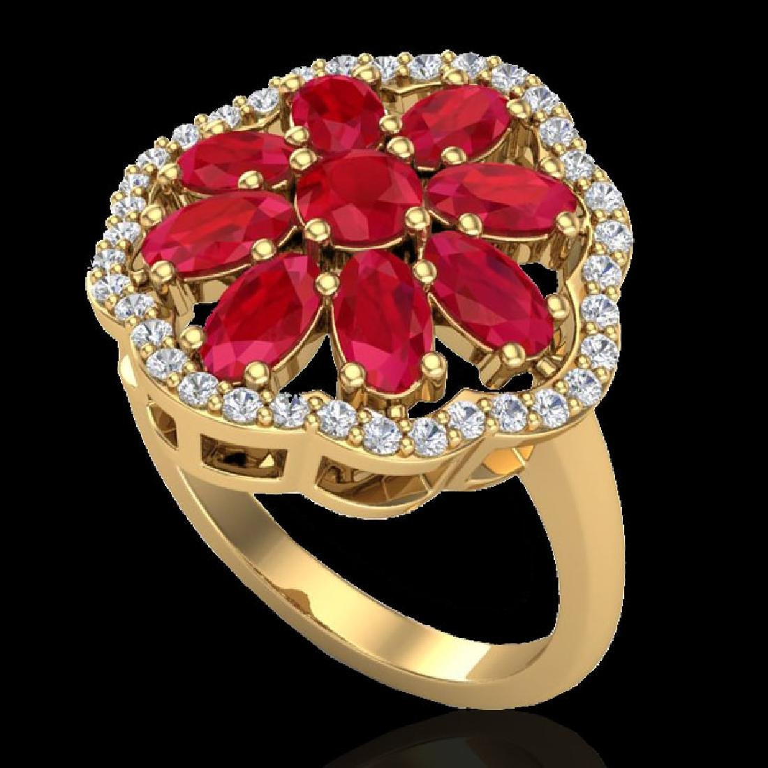 4 CTW Ruby & VS/SI Diamond Cluster Designer Halo Ring