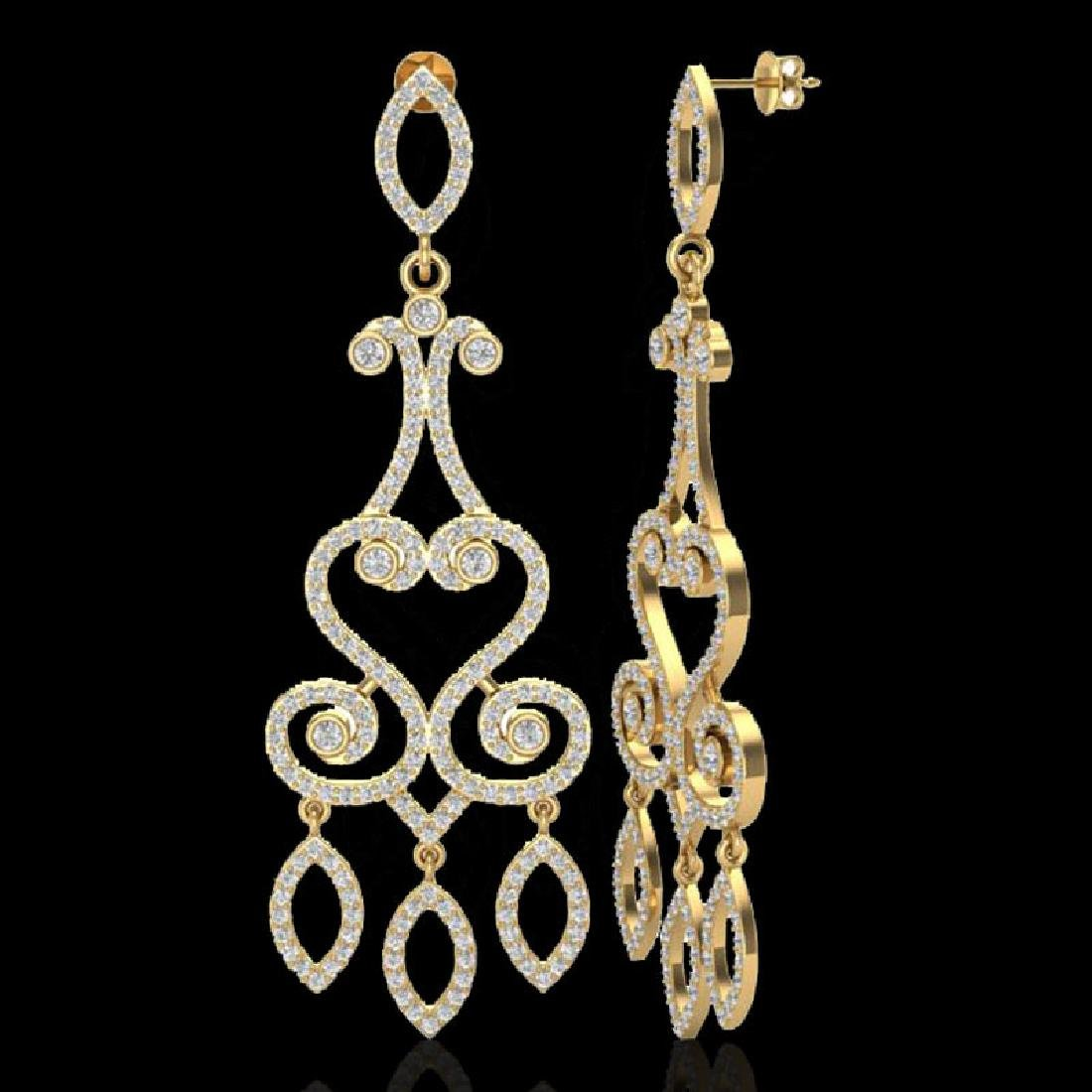 3.25 CTW VS/SI Diamond Micro Pave Designer Earrings 14K - 2