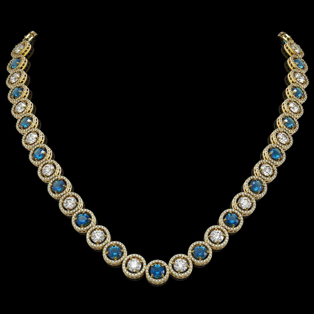 31.18 CTW Blue & White Diamond Designer Necklace 18K