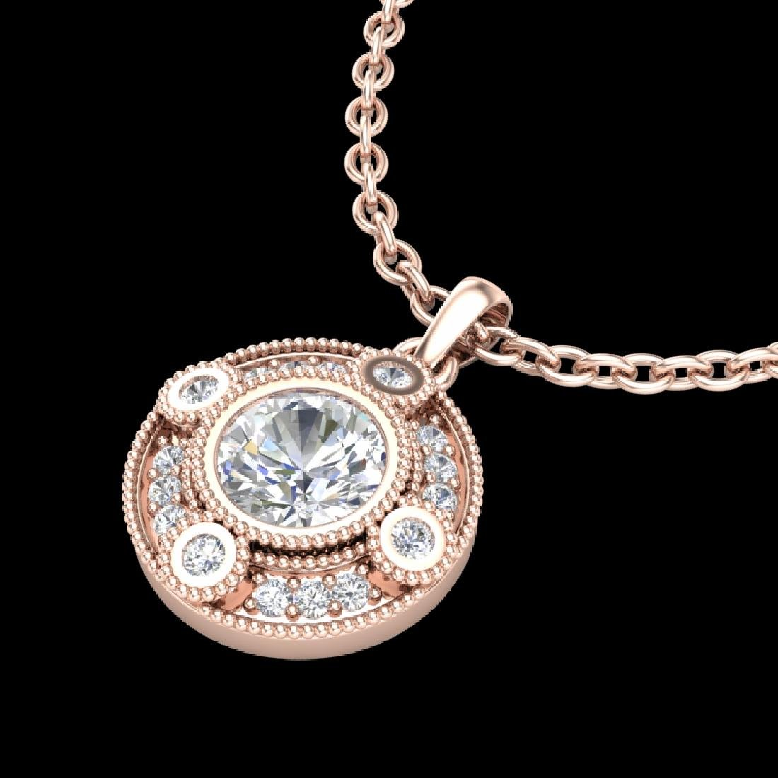 1.01 CTW VS/SI Diamond Solitaire Art Deco Stud Necklace