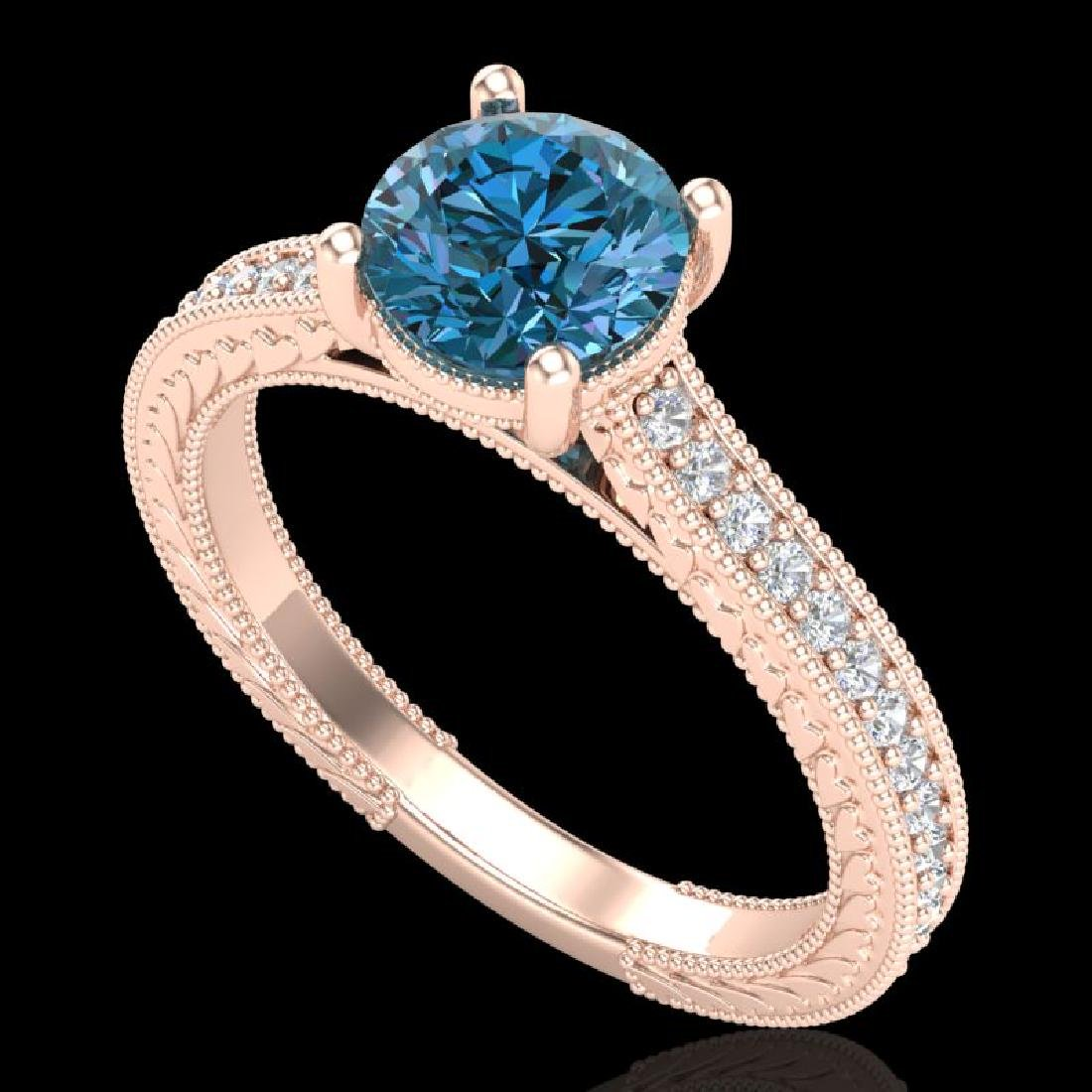 1.45 CTW Fancy Intense Blue Diamond Solitaire Art Deco