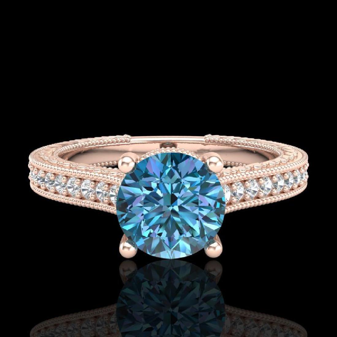 1.45 CTW Fancy Intense Blue Diamond Solitaire Art Deco - 2