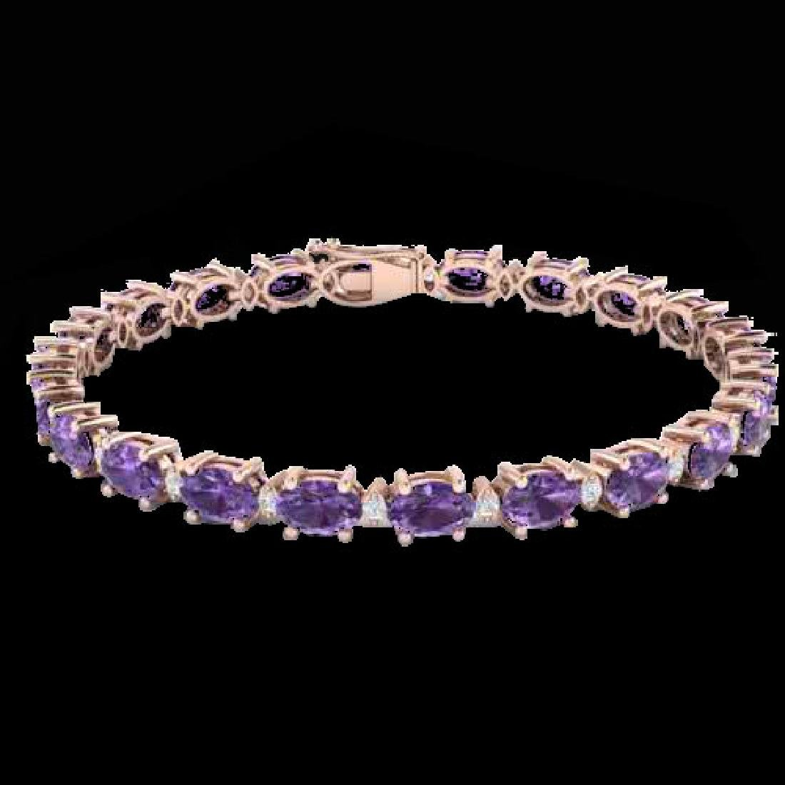 12 CTW Amethyst & VS/SI Diamond Eternity Bracelet 10K - 2