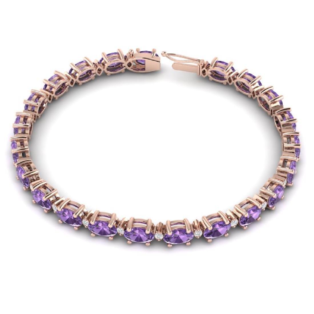 12 CTW Amethyst & VS/SI Diamond Eternity Bracelet 10K - 3