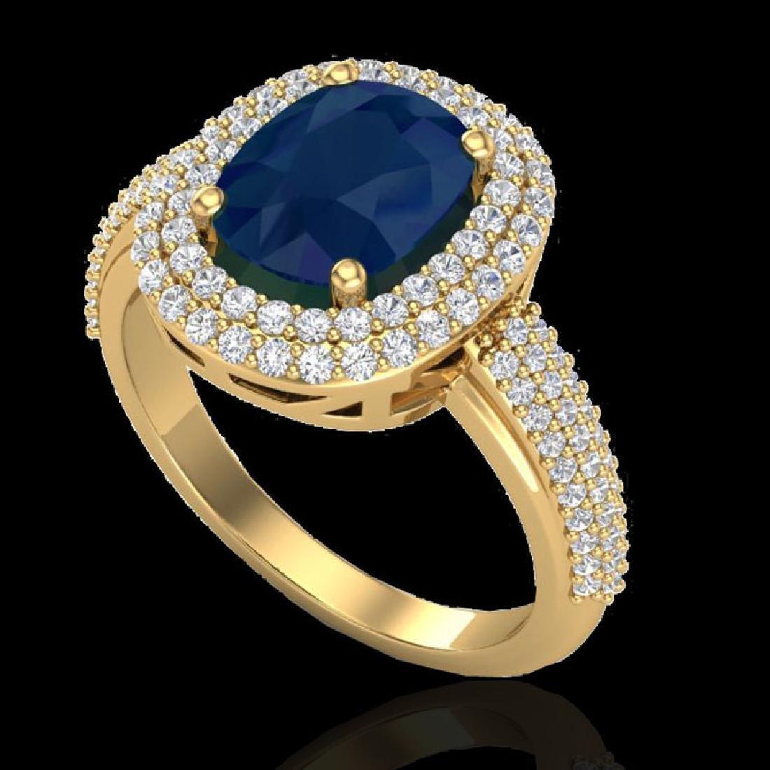 3.50 CTW Sapphire & Micro Pave VS/SI Diamond Halo Ring - 2
