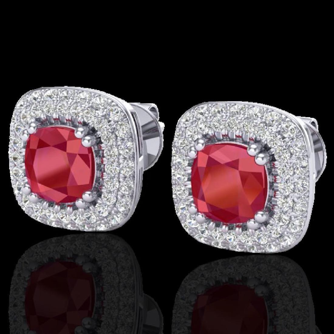 2.16 CTW Ruby & Micro VS/SI Diamond Earrings Solitaire