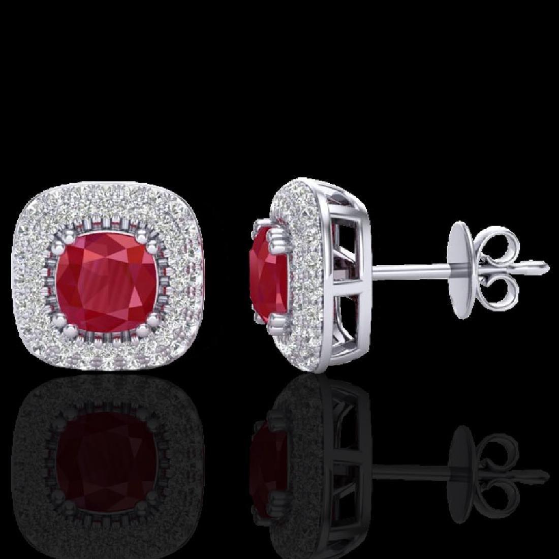 2.16 CTW Ruby & Micro VS/SI Diamond Earrings Solitaire - 2