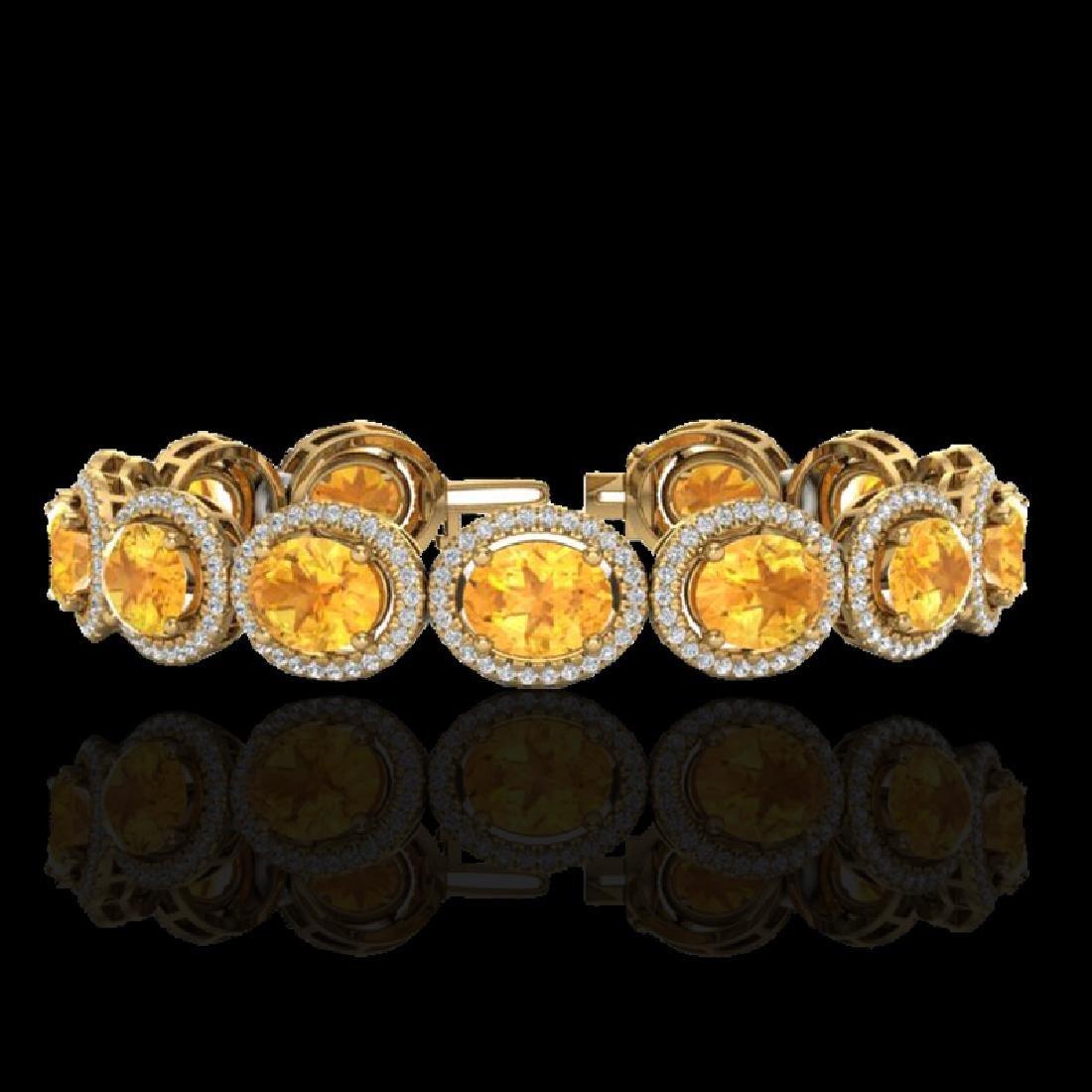 24 CTW Citrine & Micro Pave VS/SI Diamond Bracelet 10K