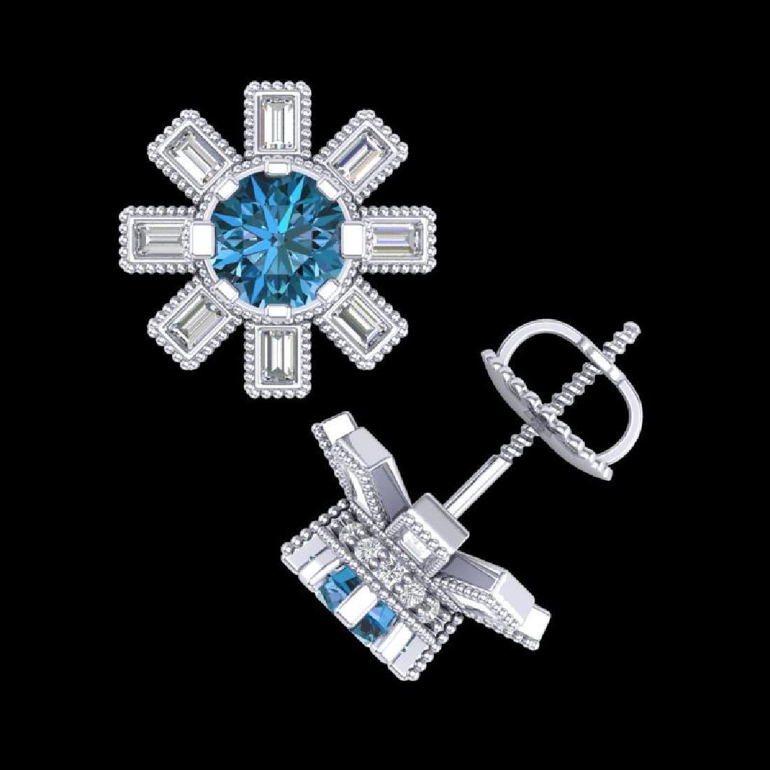 1.77 CTW Fancy Intense Blue Diamond Art Deco Stud - 2