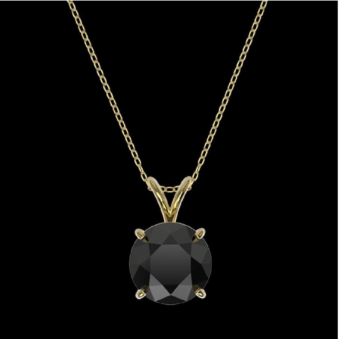 2.09 CTW Fancy Black VS Diamond Solitaire Necklace 10K - 3