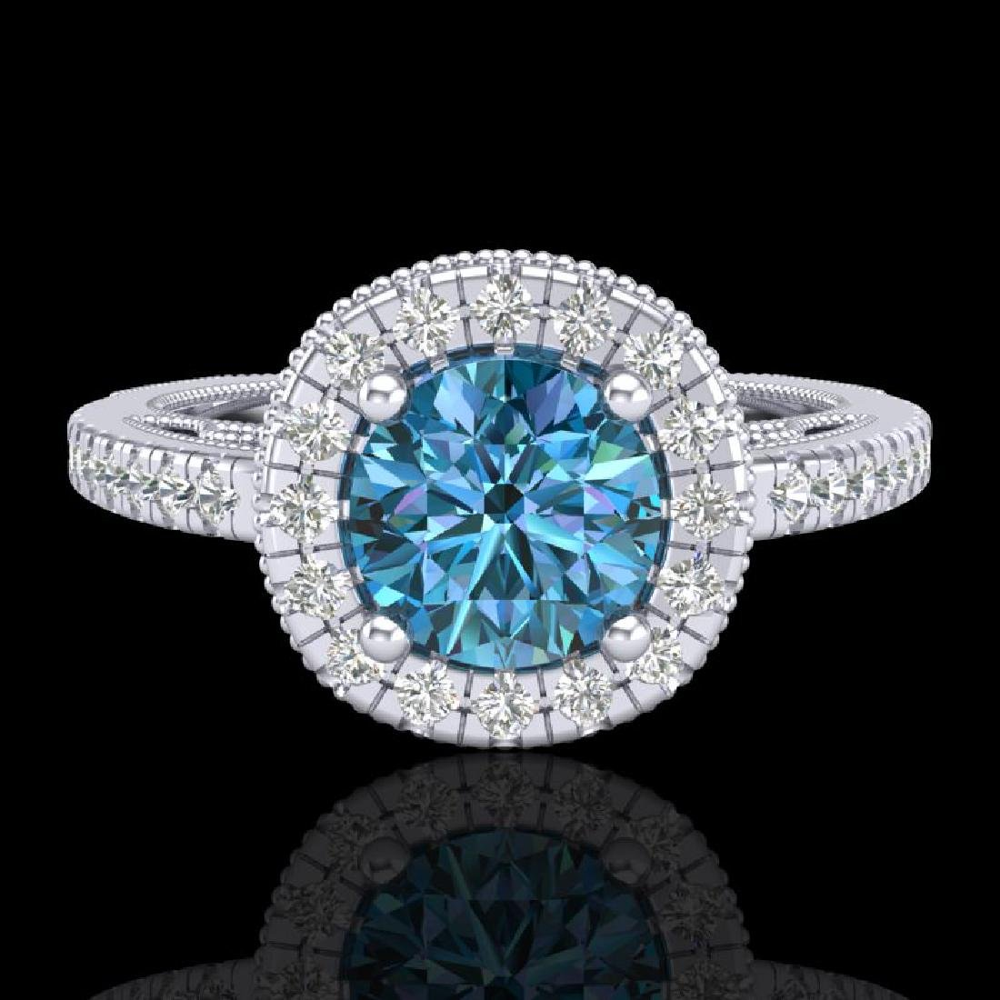 1.55 CTW Fancy Intense Blue Diamond Solitaire Art Deco - 2