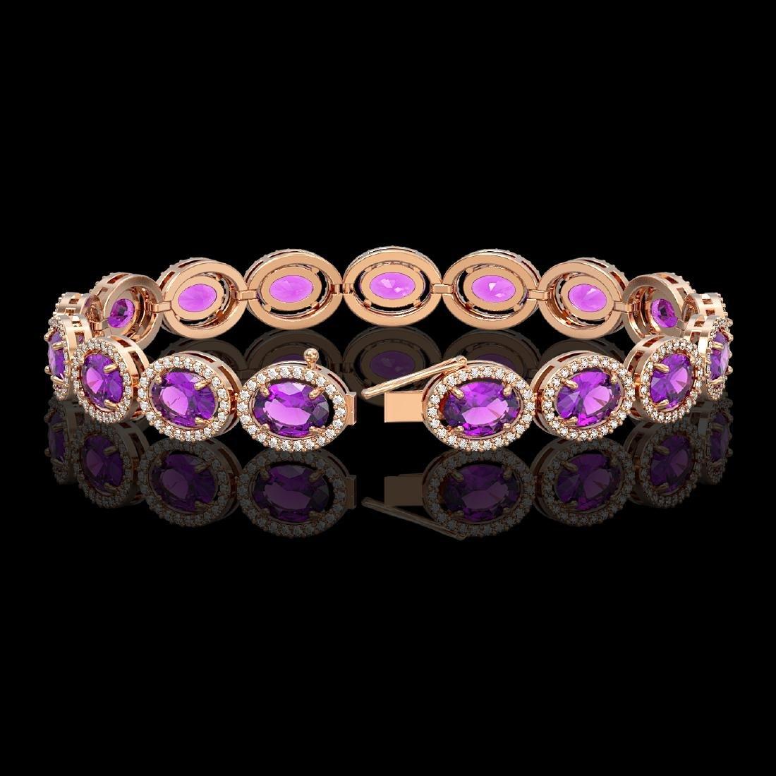 19.82 CTW Amethyst & Diamond Halo Bracelet 10K Rose - 2