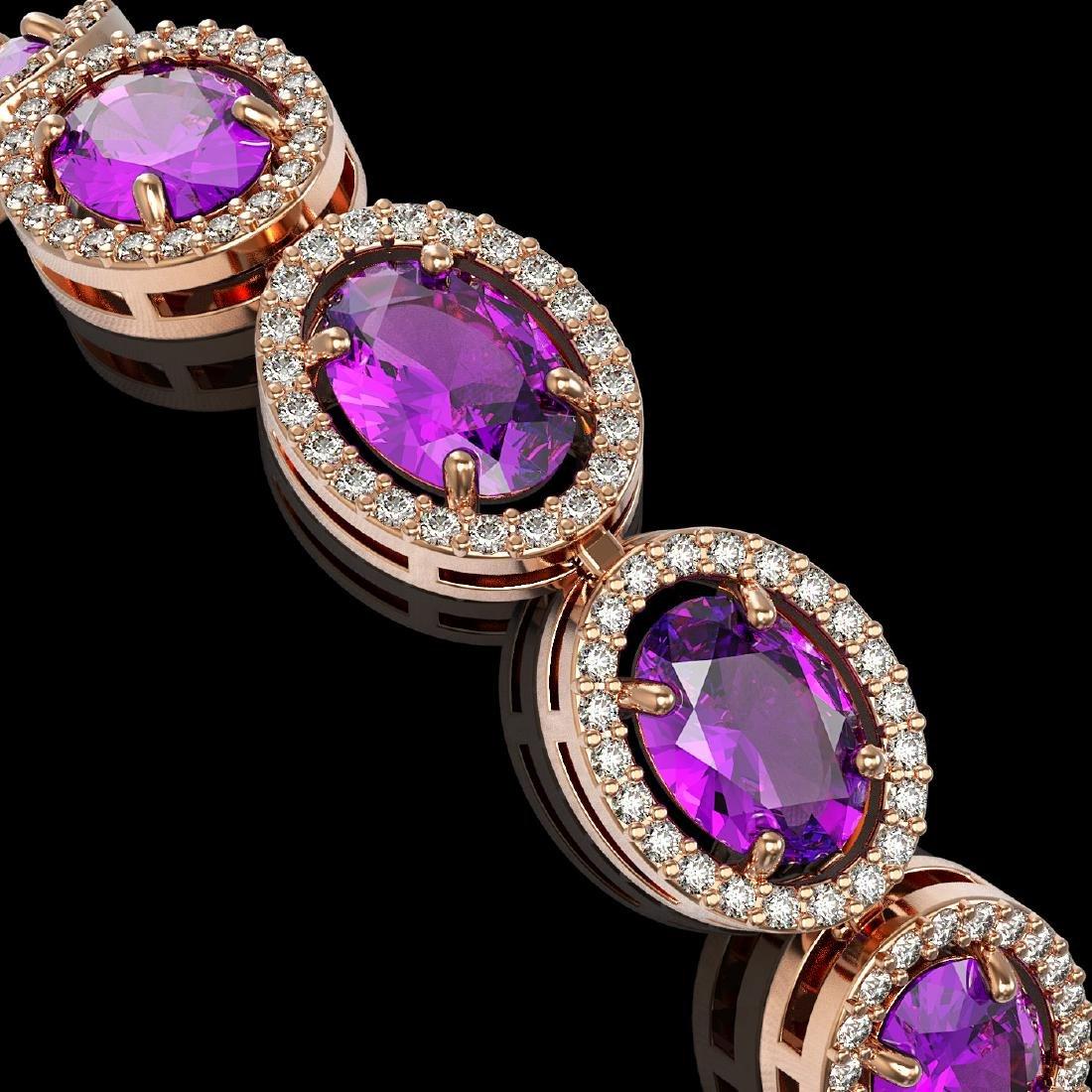 19.82 CTW Amethyst & Diamond Halo Bracelet 10K Rose - 3