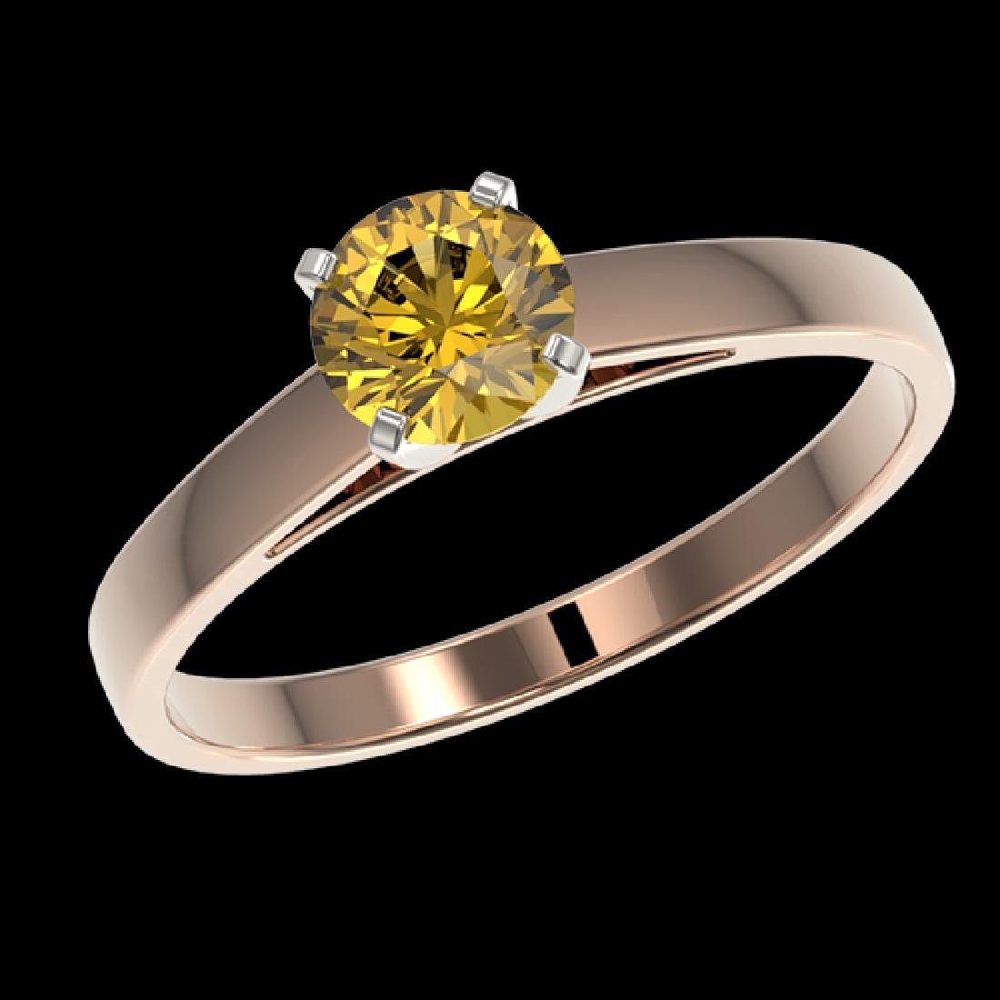0.74 CTW Certified Intense Yellow SI Diamond Solitaire - 2