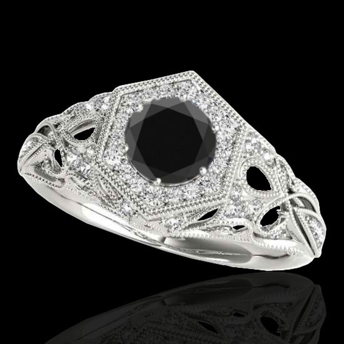 1.4 CTW Certified VS Black Diamond Solitaire Antique