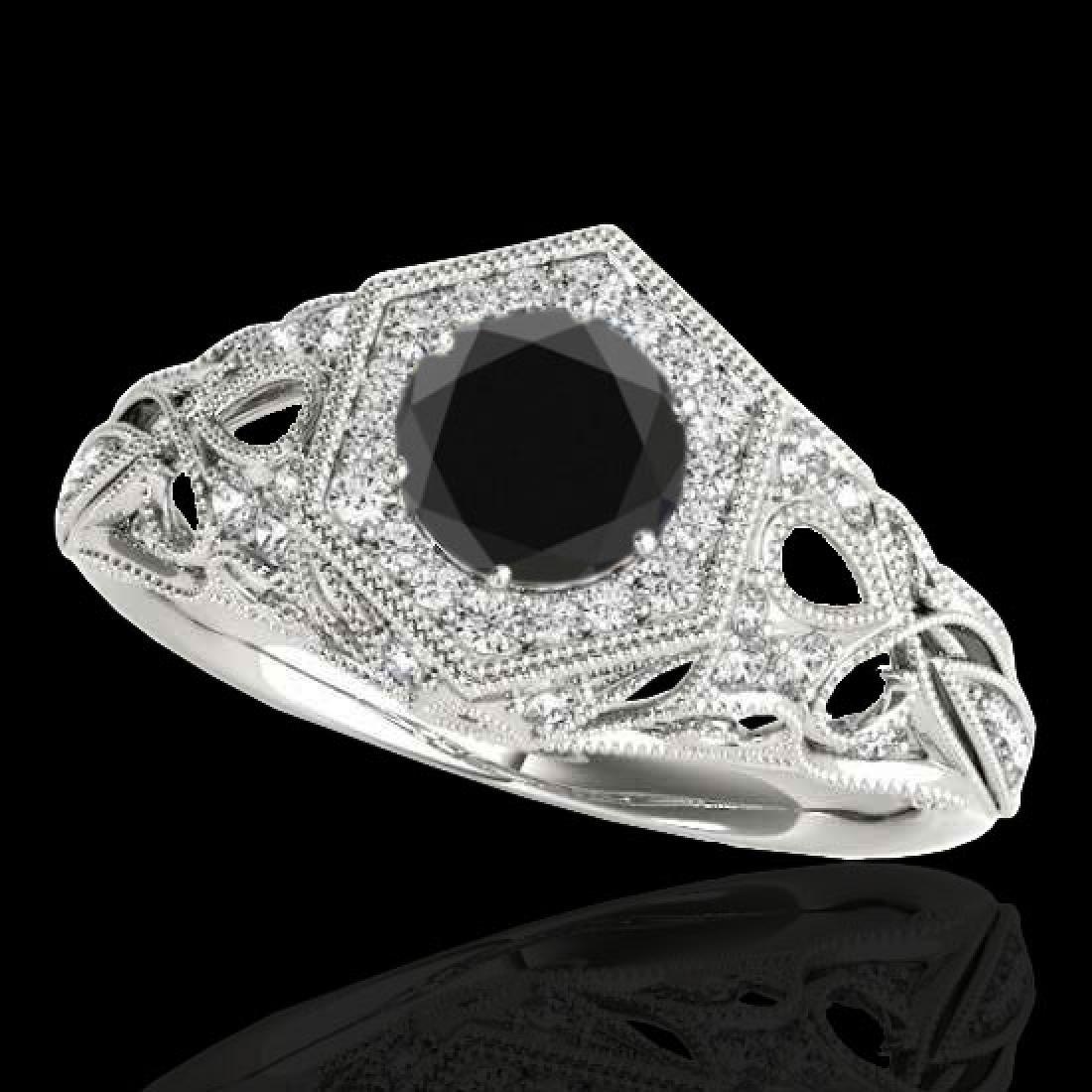 1.4 CTW Certified VS Black Diamond Solitaire Antique