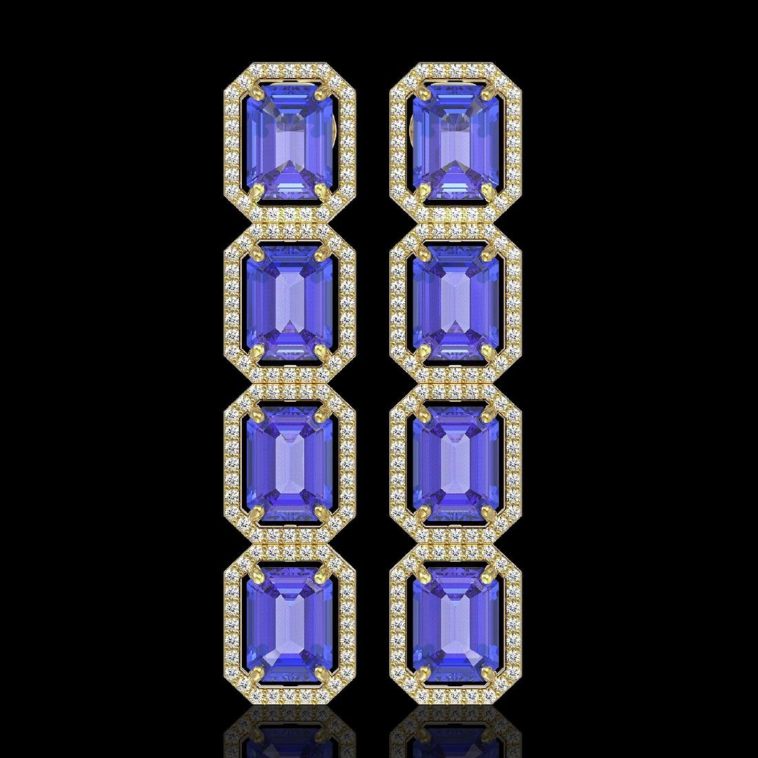 19.39 CTW Tanzanite & Diamond Halo Earrings 10K Yellow