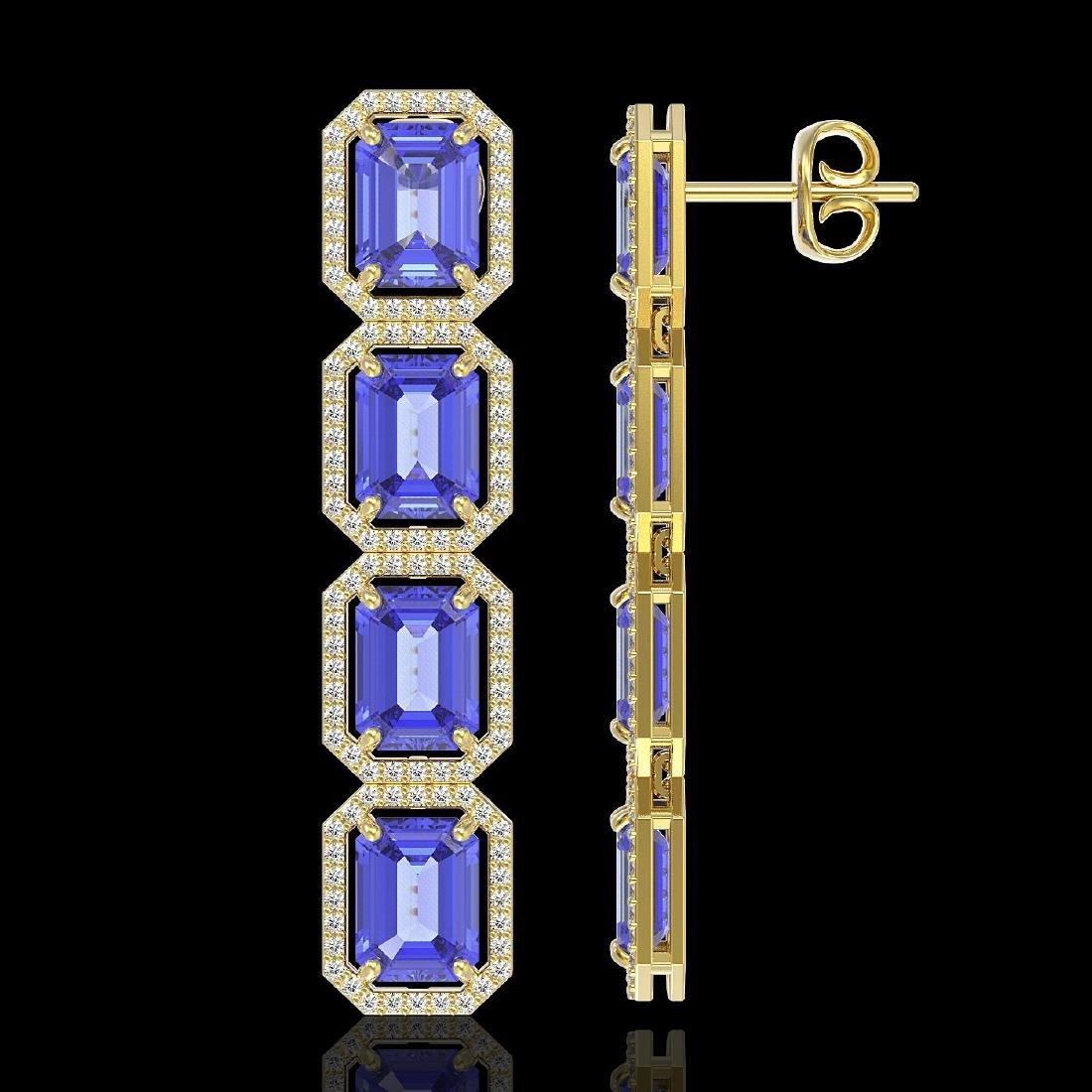19.39 CTW Tanzanite & Diamond Halo Earrings 10K Yellow - 2