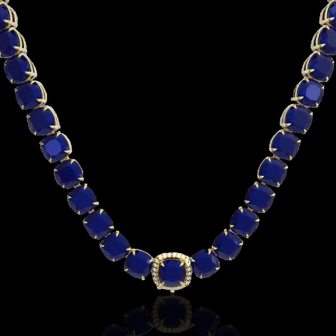 116 CTW Sapphire & VS/SI Diamond Halo Micro Necklace - 2