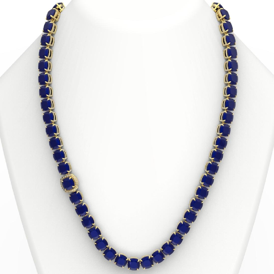 116 CTW Sapphire & VS/SI Diamond Halo Micro Necklace - 3