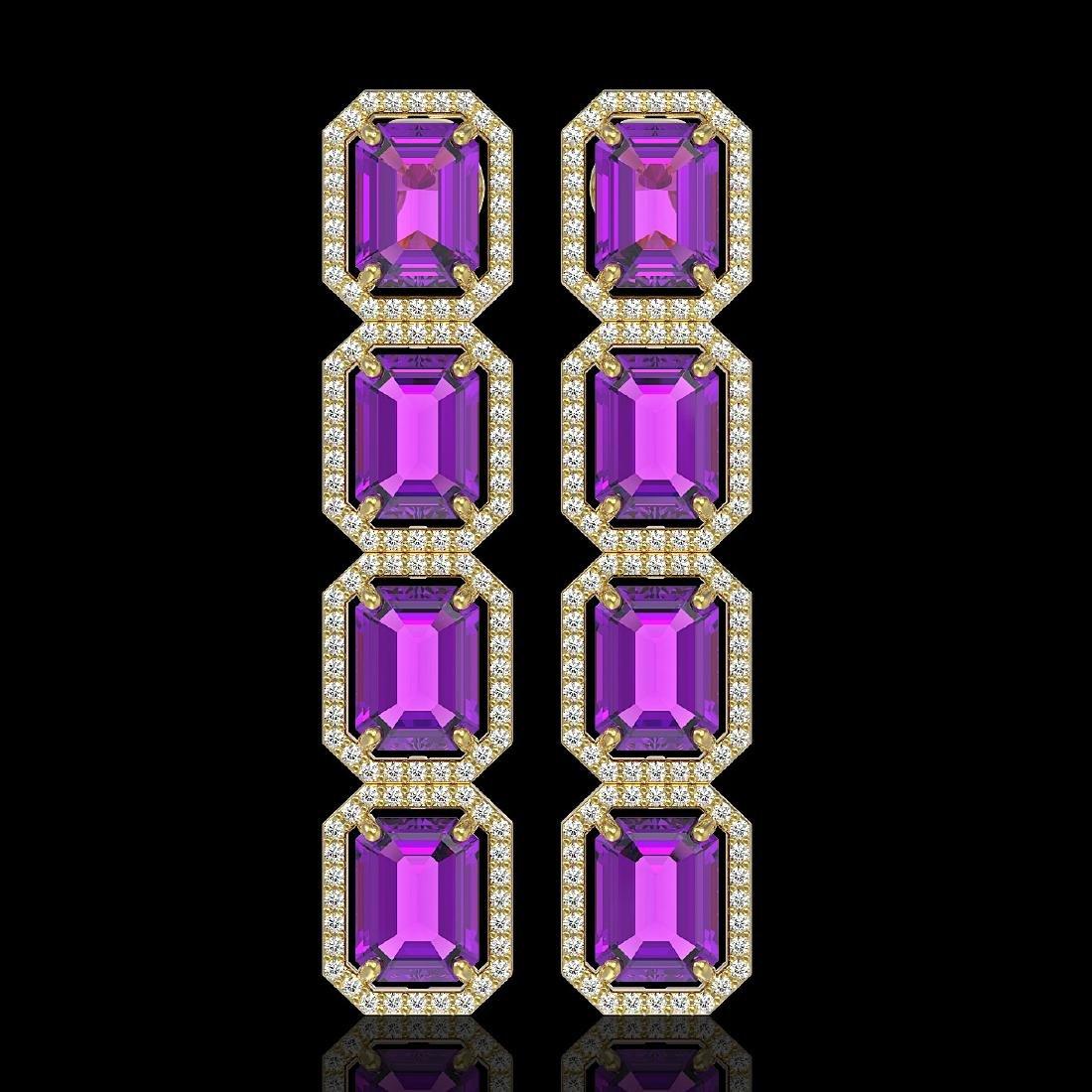 18.59 CTW Amethyst & Diamond Halo Earrings 10K Yellow