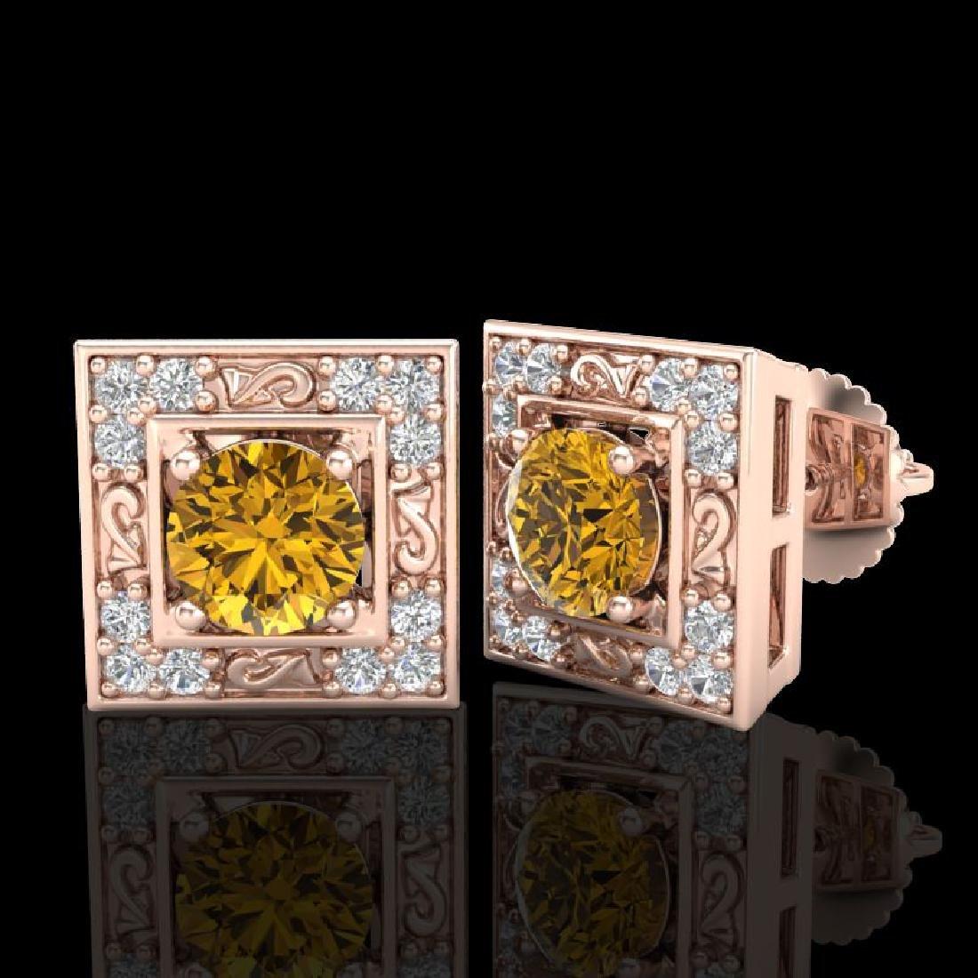 1.63 CTW Intense Fancy Yellow Diamond Art Deco Stud - 2