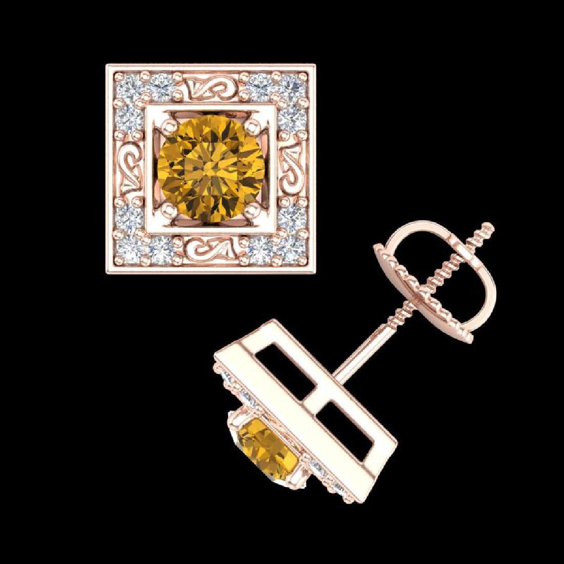 1.63 CTW Intense Fancy Yellow Diamond Art Deco Stud - 3