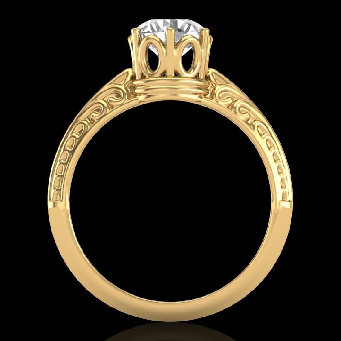 1 CTW VS/SI Diamond Art Deco Ring 18K Yellow Gold - 2