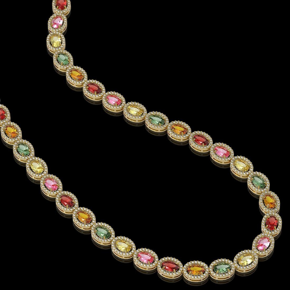 31.96 CTW Multi Color Sapphire & Diamond Halo Necklace - 2