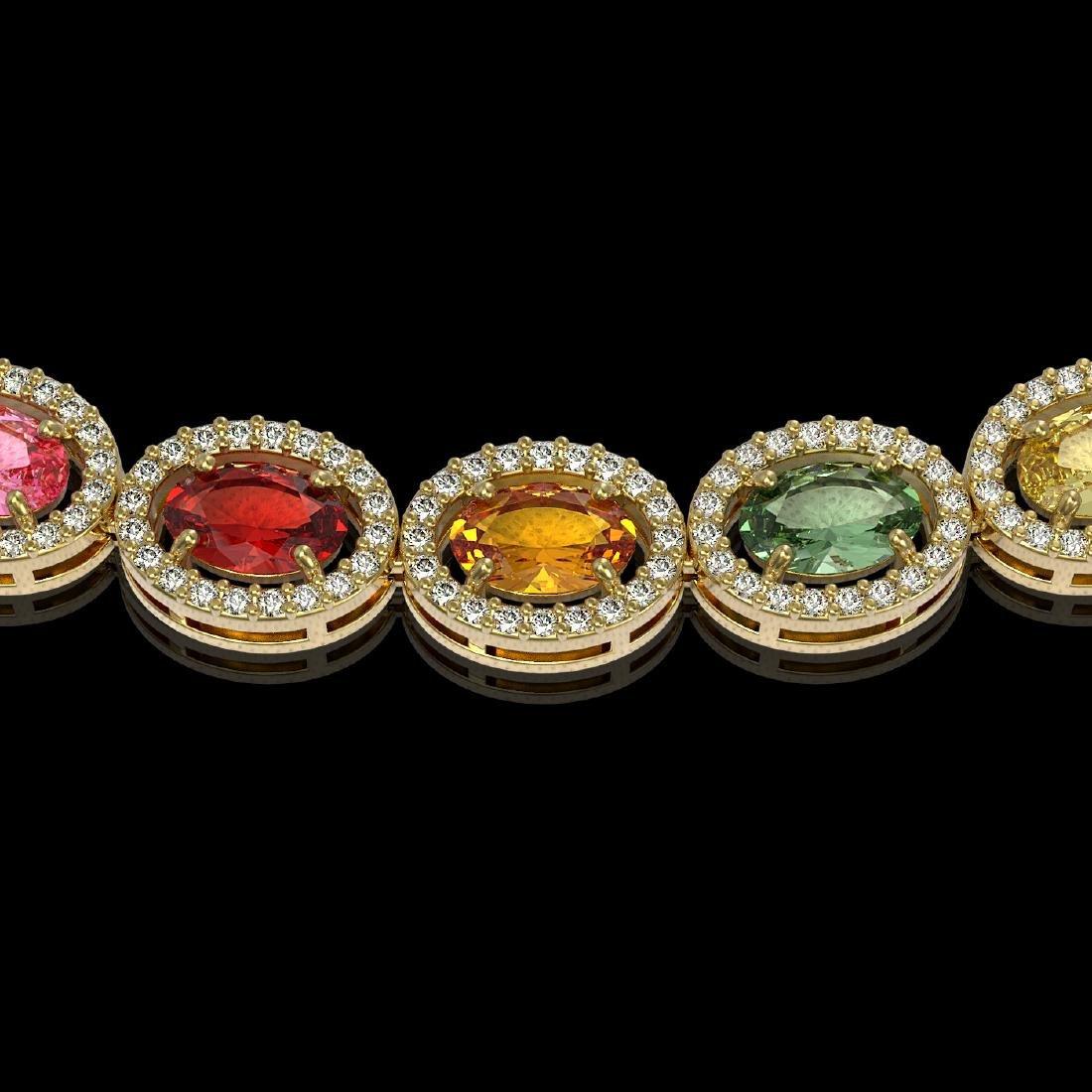 31.96 CTW Multi Color Sapphire & Diamond Halo Necklace - 3
